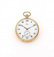 OMEGA N° 1150/7589191 vers 1920 Montre de poche en or. Cadran émail blanc avec petite trotteuse centrale. Mouvement mécanique. C...
