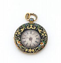 D. BLONDEL N° 3387 Belle montre de col en or. Dos et lunette émaillés translucide bleu, orange, rose et bleu à décor de fleurs....
