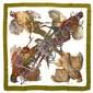 HERMES Paris made in france Carré en soie imprimée, à décor de petits gibiers de chasse, signé