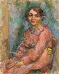 ¤ Michel KIKOINE (Gomel, 1892 - Cannes, 1968) JEUNE FEMME EN ROSE, 1918 Huile sur toile