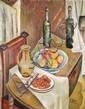 ¤ Isaac PAILES (Kiev, 1895 - Paris, 1978) NATURE MORTE AUX FRUITS ET BOUTEILLES, 1913 Huile sur toile