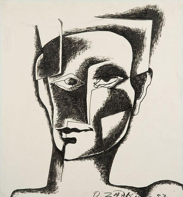 ¤ Ossip ZADKINE (Vitebsk, 1890 - Paris, 1967) TETE D'HOMME, 1957 Dessin à l'encre sur papier