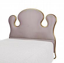 Hubert LE GALL (Né en 1961) Tête de lit - 2003 Structure en métal doré à la feuille, tapissé de taffetas de soie