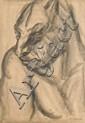 ¤ Pierre de BELAY (1890-1947) ETUDE DE FAUNE, 1926 Dessin au fusain sur papier