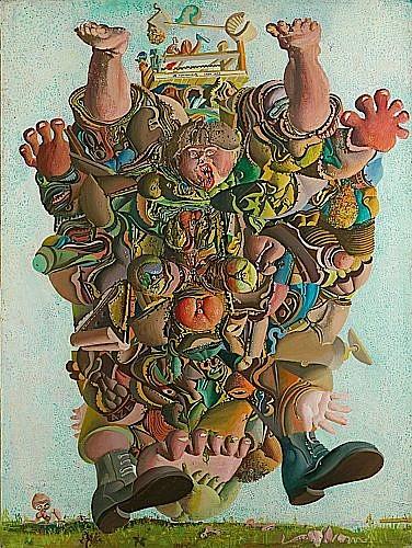 ¤DADO (né en 1933) LE FOODBALEUR, 1964 Huile sur toile signée , titrée et datée...