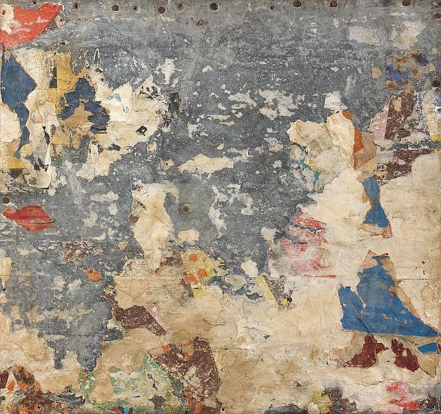 Raymond HAINS (1926-2005) DECOLLAGE, 1975 Affiches arrachées et marouflées sur tôle