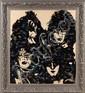 MR. BRAINWASH (MBW) (né en 1966) KISS (LIFE IS BEAUTIFUL), 2010 Technique mixte, collage de disques vinyles en éclat sur papier maro...