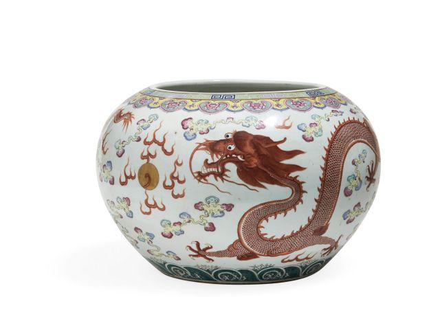 Grande vasque en porcelaine polychrome chine dynastie qing - Vasque ancienne en porcelaine ...