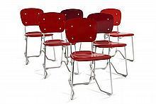 Armin WIRTH (Né en 1903) Suite de six chaises pliables