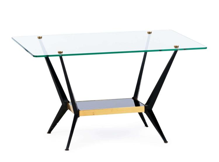 Angelo ostuni table d 39 appoint circa 1950 pi tement en m t for Pietement table metal