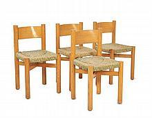 Charlotte PERRIAND (1903-1999) Suite de quatre chaises