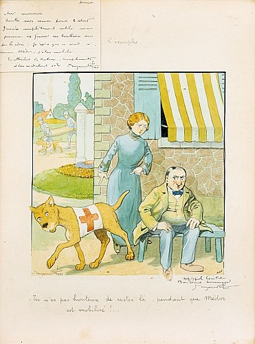 RABIER Benjamin (1864-1939) L'exemple «Tu n'es pas honteux de rester là, pendant que Médor est mobilisé!...» Mine de plomb,...