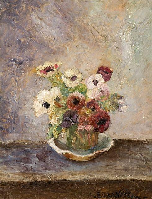 Emmanuel de LA VILLEON (1858-1944) PETIT BOUQUET D'ANEMONES Huile sur toile