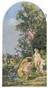 Ker-Xavier ROUSSEL (1867-1944) L'ENLEVEMENT DES FILLES DE LEUCIPPE: L'AMOUR ET LE GUET, circa 1920 Ensemble de 2 oeuvres formant pen.