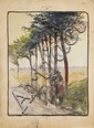 Albert GLEIZES (Paris, 1881- Avignon, 1953) PAR LES RUES ET PAR LES ROUTES, LE BERGER, circa 1905 Aquarelle et crayon sur papier for...