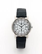 BULGARI SOLOTEMPO vers 2000 Montre bracelet en acier. Boîtier rond. Cadran blanc avec dateur à 3 heures. Mouvement quartz. Boucl...
