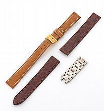 Un lot de deux bracelets dont un Rolex avec boucle deployante en or. Poids brut: 13,7g et un bracelet Cartier en croco (Crocodylidae...
