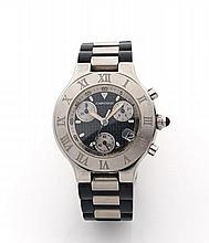 CARTIER CHRONOSCAPH 21 vers 2000  Chronographe bracelet en acier. Boîtier rond. Cadran noir avec 3 compteurs argent, dateur à 4...