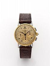 BAUME ET MERCIER Vers 1980 Chrongoraphe bracelet en métal plaqué or. Cadran or avec 3 compteurs or. Mouvement mécanique. Cadran,...