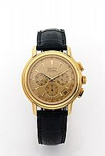 ZENITH CHRONOMASTER réf:0240400 n° 14/30 vers 2000 Chronographe bracelet en or. Boîtier rond, fond saphir. Cadran or avec 3 comp...