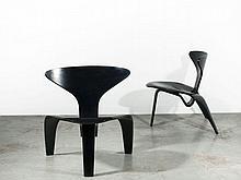 Poul KJAERHOLM 1929 - 1980 Paire de chaises mod. PK0 - création 1952 Piètement et structure en hêtre plié laqué noir