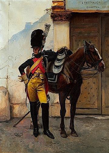 François FLAMENG (1856 - 1923) LE GRENADIER Huile sur toile