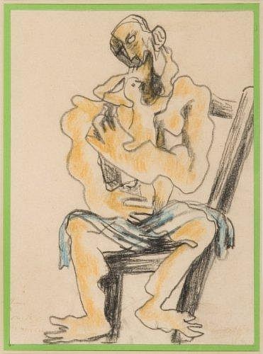 Ossip ZADKINE (1890-1967) PERE ET SON ENFANT, 1964 Dessin au crayon et crayons de couleur sur papier