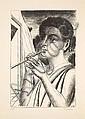 Paul DELVAUX (1897-1994) LE JOUEUR DE FLUTE, 1972