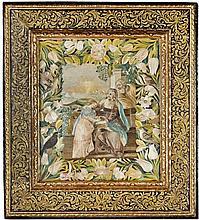 PANNEAU EN SOIE BRODÉE, MANUFACTURE PROBABLEMENT GÉNOISE DU XVIIE SIÈCLE, D'APRÈS UN TABLEAU DE VINCENZO MALÒ (1600-1650)