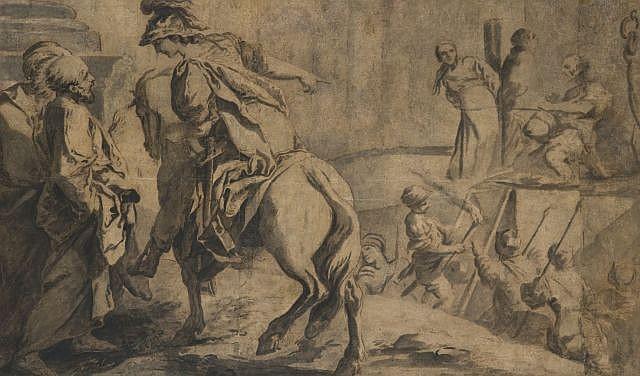 Ecole française du XVIIIe siècle  Clorinde demande la liberté d'Olinde et Sophronie Lavis gris et brun, sur deux feuilles