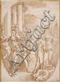 Ecole génoise du XVIIe siècle Atelier de Luca Cambiaso Saint Matthieu et le miracle du dragon d'Ethiopie Plume et encre brune, lavis..