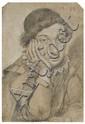 Ippolito Leoni Rome, 1616 - 1694 Jeune garçon pensif Crayon noir et craie blanche sur papier bleu,