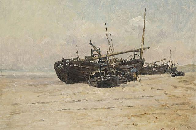 Mario Carl-Rosa Loudun, 1853 - 1913 Barques sur la plage Huile sur panneau