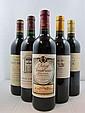 12 bouteilles  2 bts : CHÂTEAU CADET BON 1996 GCC Saint Emilion 2 bts : CHÂTEAU MAUCAILLOU 1996 CB Moulis (étiquettes tachées) 3...