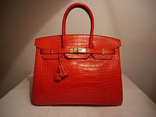 HERMES A Géranium red alligator 35 cm