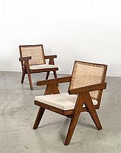 Pierre JEANNERET (1896 - 1967) Paire de fauteuils dits