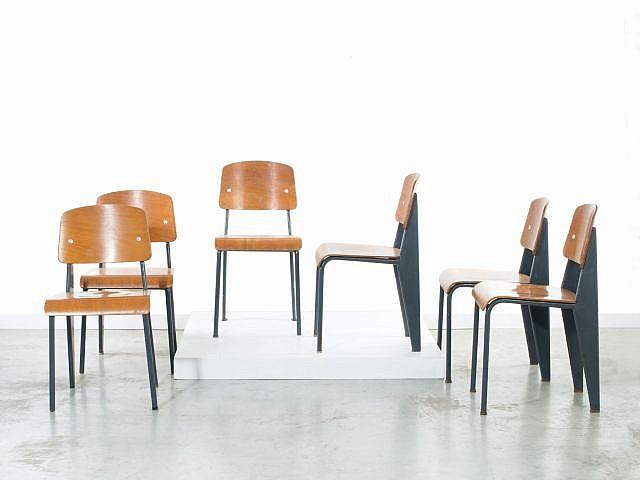 jean prouve 1901 1984 suite de six chaises mod m tropole. Black Bedroom Furniture Sets. Home Design Ideas
