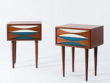 Arne VODDER (1926-2009) PAIRE DE CHEVETS – 1960 Teck et bois lacqué
