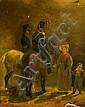 Attribué à Horace Vernet Paris, 1789 - 1863 Mère et son enfant conversant avec deux chasseurs à cheval Huile sur papier marouflé sur...
