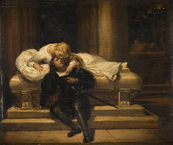 Paul Delaroche Paris, 1797 - 1856 Juliette se réveillant près de Roméo Huile sur panneau