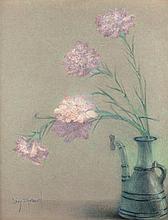 Lucien Lévy-Dhurmer Alger, 1865 - Le Vésinet, 1953 Bouquet d'oeillets dans un vase Pastel