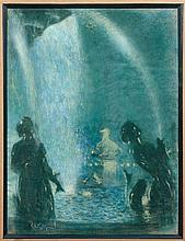Lucien Lévy-Dhurmer Alger, 1865 - Le Vésinet, 1953 Fontaine, place de la Concorde, Paris Pastel
