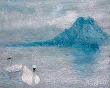 Lucien Lévy-Dhurmer Alger, 1865 - Le Vésinet, 1953 Cygnes sur un lac de montagne, probablement le lac du Bourget Pastel