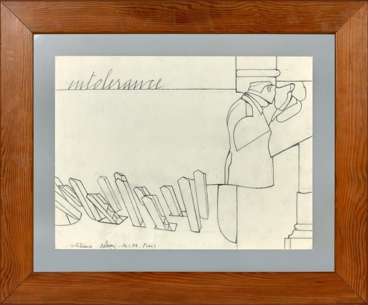 Valerio ADAMI (Né en 1935) INTOLERANCE - 1974 Fusain sur papier
