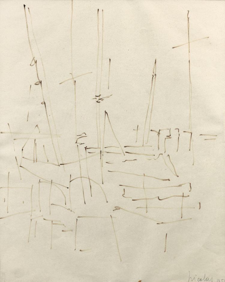 Nicolas de STAEL (1914-1955) SANS TITRE - 1954 Feutre sur papier