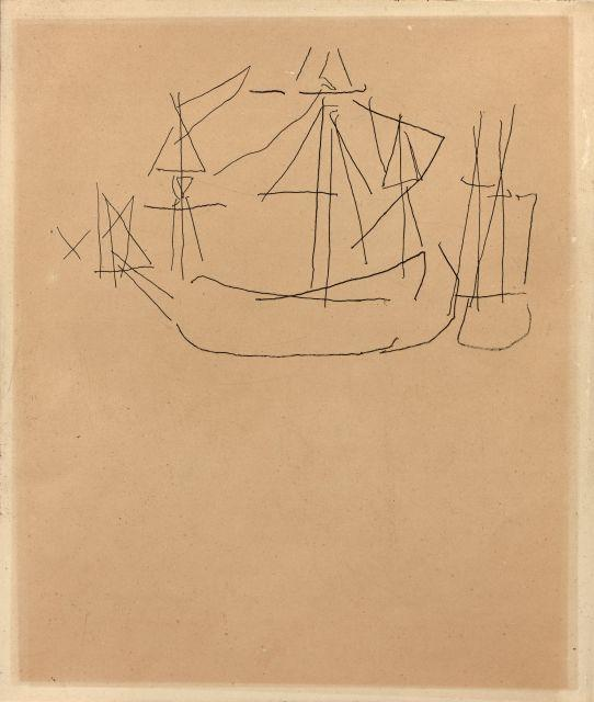 Nicolas de STAEL (1914-1955) BATEAUX II - 1954 Encre sur papier