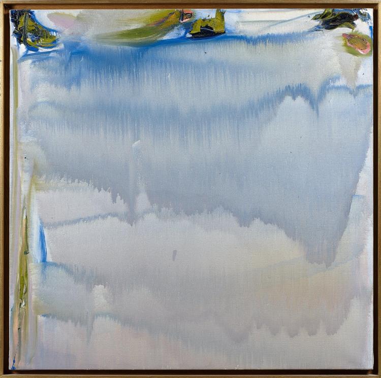 Olivier DEBRE (1920 - 1999) COULEE GRIS BLEUE DE LOIRE AUX TACHES VERTES EPAISSES - 1990 Huile sur toile
