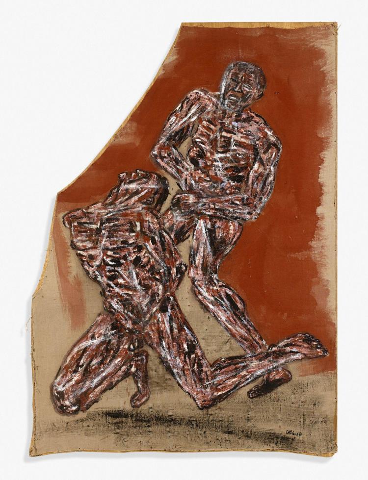 Leon GOLUB (1922 - 2004) COMBAT Huile sur toile découpée montée sur panneau
