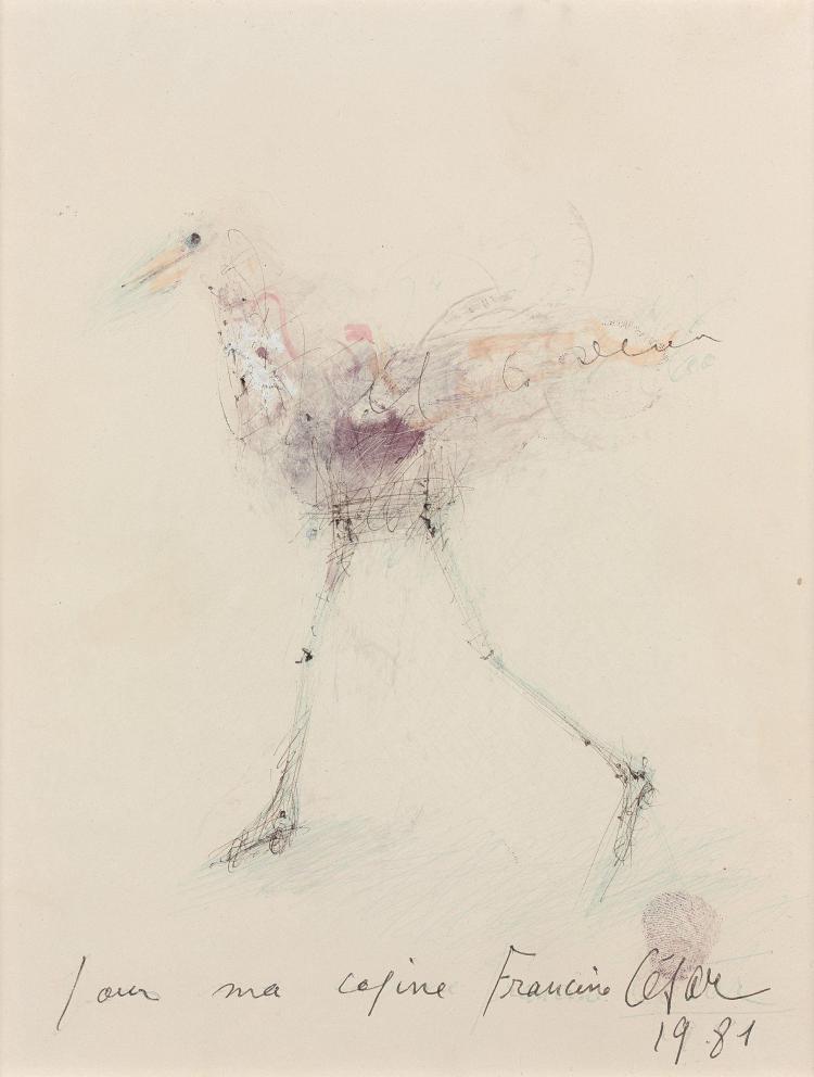CESAR (1921 - 1998) POULE - 1981 Stylo bille, feutre et tampon sur papier