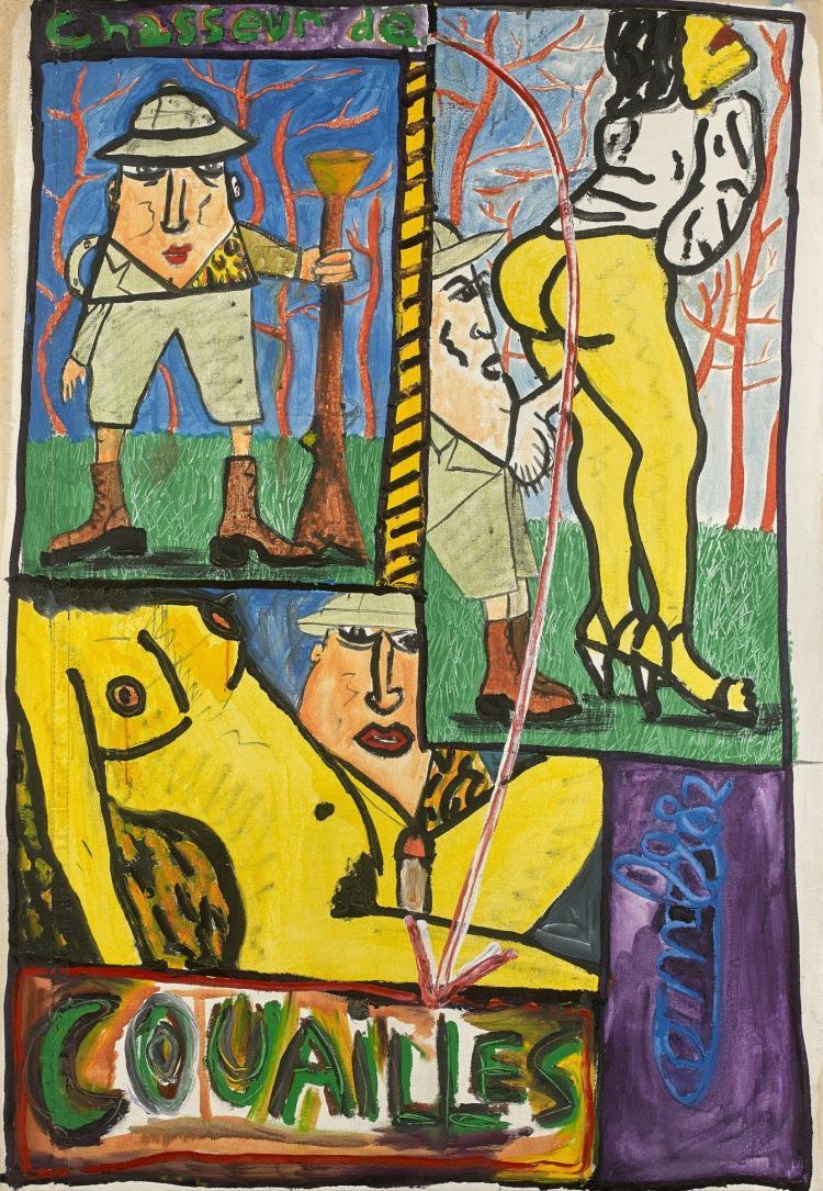 Robert COMBAS (Né en 1957) CHASSEUR DE COUAILLES - 1982 Huile sur toile